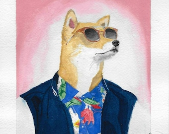 Print of Menswear Dog original done in gouache on Arches paper
