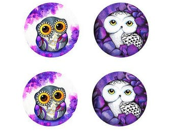 12mm, set of 2 pairs of owls