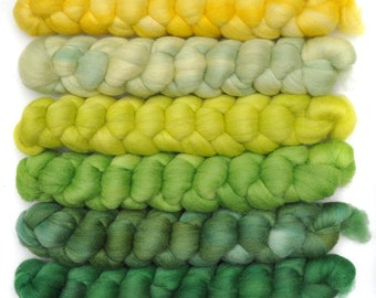 Hand dyed roving -  Silk / Merino wool 20/80% spinning fiber - 6.3 ounces - Young Spruce