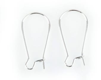 10 pairs of hooks earrings silver, 25 mm long