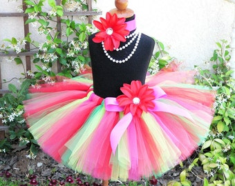 fuchsia pink coral red green tutu - WILD WATERMELON - Custom sewn tutu and flower headband set - up to 10'' long - sizes Newborn to 5T
