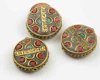Tibetan Beads- Flat Coin- Turquoise and Coral on brass Inlays