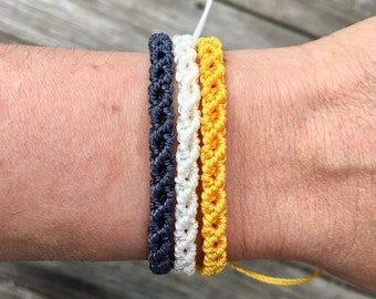 SALE Micro-Macrame Adjustable Bracelet Stack - Navy, White, Yellow