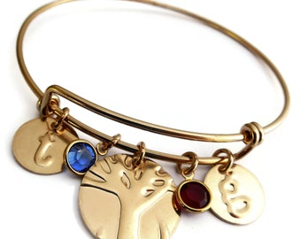 Mothers Day From Son Birthstone Bracelet, Bangle, Jewelry, Family Tree Personalized|Mom From Son Mothers Day Gift For Mom in Gold Filled