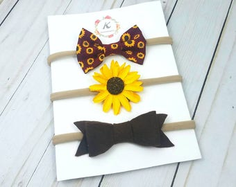 Sunflower headband set - nylon headband set - flower headbands - fall headband set - fall hair bows - felt bows - sunflower headband - bows