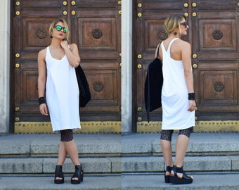 Little White Dress, White Tunic, White Midi Dress, Tank Top Dress, Beach Dress, White Short Dress, Casual Dress, Sun Dress, Minimalist Dress