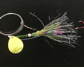 Chartreuse salmon prawn spinner. Salmon, Steelhead, Trout and Kokanee lure.