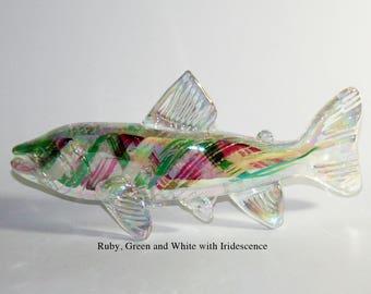 Memorial Glass Memento Trout/Salmon Sculpture, Cremation Ashes, Pet