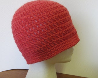 Coral Pink Hat Llama Wool Cap Woolen Cloche Beanie Thick Big Hair Ski Womans Easter Spring Handmade Crochet BoHo Retro Oversize