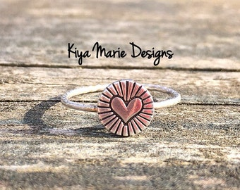 Heart Ring, Silver love ring, sterling silver heart, Skinny band stack ring, Sterling Silver Argentium Silver Stack Rings, Love heart rings