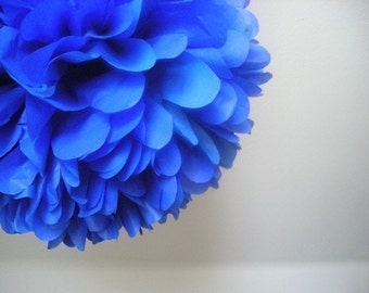 COBALT tissue paper pompom bright blue little prince boy first birthday party decorations wedding aisle marker 4th of July bar mitzvah Purim