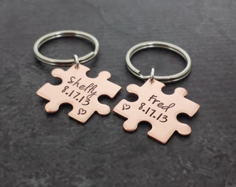 Puzzle Piece Key Chain Set - Personalized Copper His and Hers Key Chains