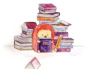 Orange and Purple Hedgehog Nursery Print Library Books