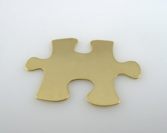 "Sale - Brass Stamping Blank Puzzle Personalized Jewelry  1 1/4"" x 7/8"" 24 Gauge Qty. 6"