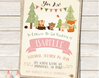 Woodland Birthday Invitation - Woodland Animal - Fox, Hedgehog, Squirrel, Beaver, Rabbit, Bunny - DIY Printable or Printed Invitation