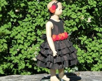 Fall flower girl dress. Girls thanksgiving dress. Chocolate flower girl ruffle dress. Rustic fall wedding. Autumn flower girl.Fall wedding.