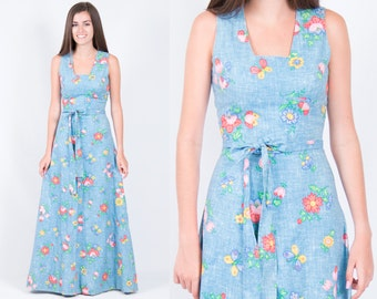 Vintage 1970s Denim Blue Calico Floral Butterfly Maxi Dress * Square Neck Hippie Boho Bohemian * Size XS Small * FREE SHIPPING