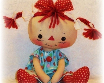 Rag Doll PATTERN, PDF pattern, Sewing, Cloth Doll Pattern, primitive, raggedy ann, annie, instant download, digital download