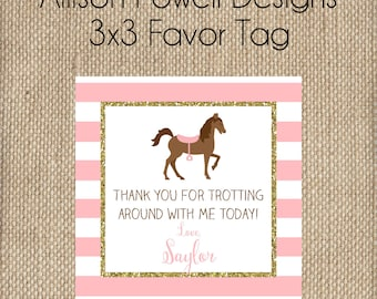 Horse - Horseback Riding - Pony - Custom Printable Favor Tag