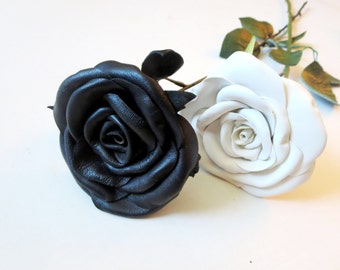 Leather rose-  Long Stem Pink Rose, Wedding, 3rd Anniversary Gift- leather  Flower- Valentines Day