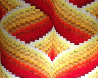 """Hearts Aflame Bargello Quilt - 80"""" x 73"""""""