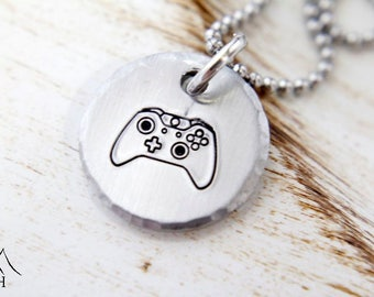 Exclusive Video Game Controller Necklace, Hand Stamped Jewelry, Gamer Girl, Video Game, Console Gamer, Gamer Gift