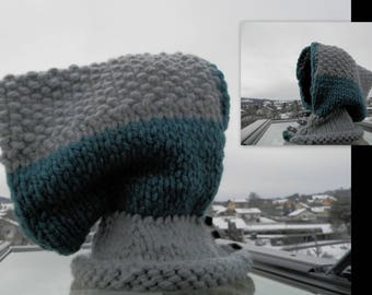 Balaclava Hat gray and blue buttons