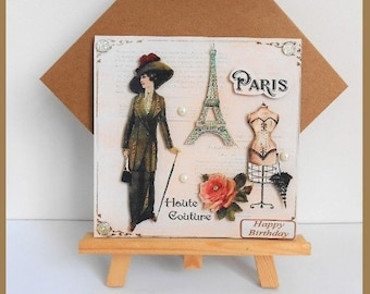 'Paris, haute couture' birthday card