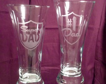 Personalized Etched Beer Glasses and Mugs