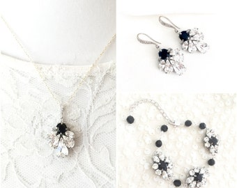 Black Bridal Jewelry set, Wedding jewelry set, choose any color Jewelry, Jet Black Swarovski Rhinestone Jewelry, Statement CYNTHIA BRACELET