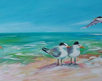 Joining Friends original acrylic on canvas gallery wrapped 24x48
