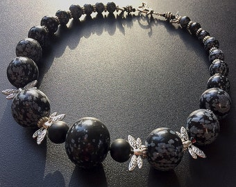 Bali Fireflies: Agate, onyx, sterling silver, inlaid wood. Necklace and earring set.