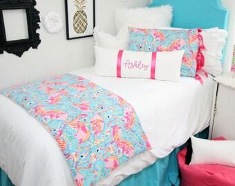 Mandarin Blue Dorm Bed Skirt & Headboard Bundle