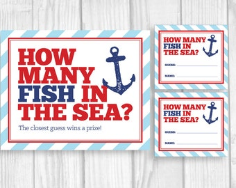 SALE Guess How Many Fish in the Sea Printable Nautical Anchor Boy's Baby Shower, Birthday Sign and Cards, Red and Navy Blue Instant Download