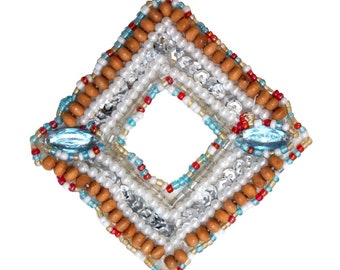 ID 9128 Indian Fashion Jewelry Patch Symbol Decoration Beaded Sew On Applique