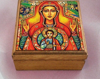 Our Lady of the Sign, Mother and Son art, Mother and Child art, mother box, Mary and Jesus Child, christian box, 3.5x3.5+