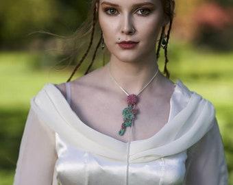Strawberry Quartz Extra long Protection Pendant Quartz pendant necklace, rose quartz, natural stone necklace, healing stone necklace