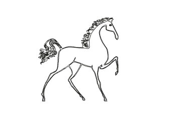 Horse redwork embroidery design