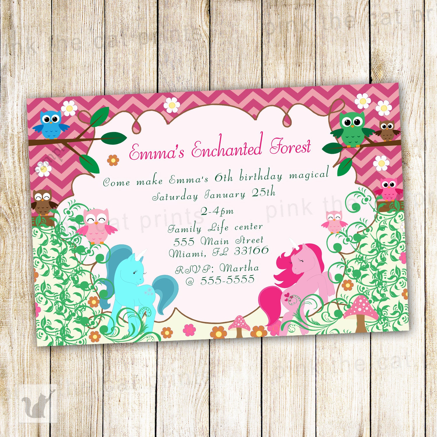 Enchanted forest birthday invitation personalized girl party zoom monicamarmolfo Choice Image
