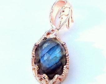 Labradorite Gemstone Necklace, Blue Grey Gemstone, Rose Gold, Sterling Silver, Gem Necklace,Blue Flash, Natural Gemstone, Edwardian Fantasy