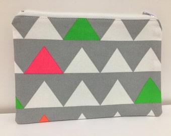 Zipper Pouch, Pencil Case, Make Up storage, Uni student, Teacher Gift,  Nappy Bag, Bag organiser, Fluro pouch, Geometric triangle pouch