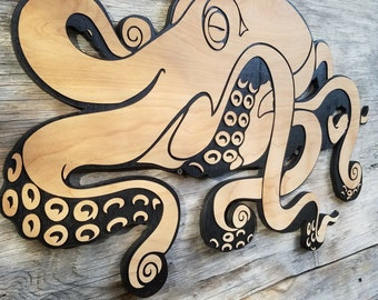 Wooden Octopus Wall hanging Beach art