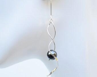 Swirl Earrings, Hametite Earrings, Silver Swirl Earrings, Long Silver Earrings