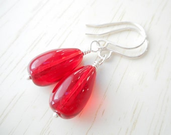Red Glass Teardrop Earrings, Czech Glass Beaded Drop Earrings, Dangle Earrings, Red Czech Glass Jewelry, Valentine's Day Gift for Her