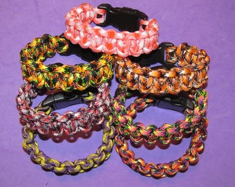 Paracord Bracelet SPECIAL SALE!   These colors only -- choose your size and buckle style, choose from 7 cord colors for this special price.