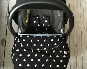 baby car seat apron harness strap covers  black white stars cotton fabric baby blue fleece  universal fit handmade