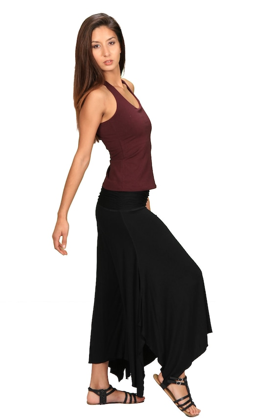 Shakti Ruched Comfortable Wide Leg Pants in Black for Womens Boho Chic Fashion Wholesale