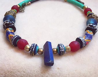 Multitudes Blue Chrysalis Necklace