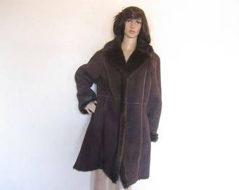 Vintage fake fur jacket coat velour jacket-over-size L