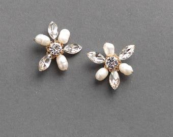 Flower Pearl Wedding Earrings, Bridal Floral Stud Earrings, Rhinestone Flower Stud Earrings, Freshwater Pearl Wedding Jewelry ~JE-4086